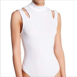 NWT Free People Mock Neck Cold Shoulder Bodysuit